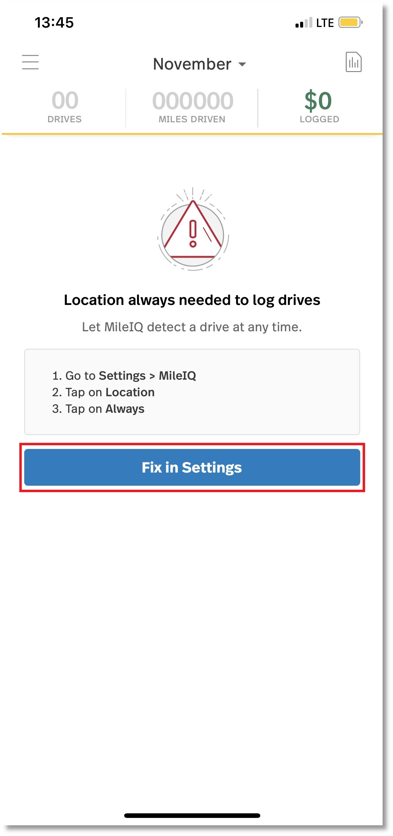 Screenshot of location services error within MileIQ