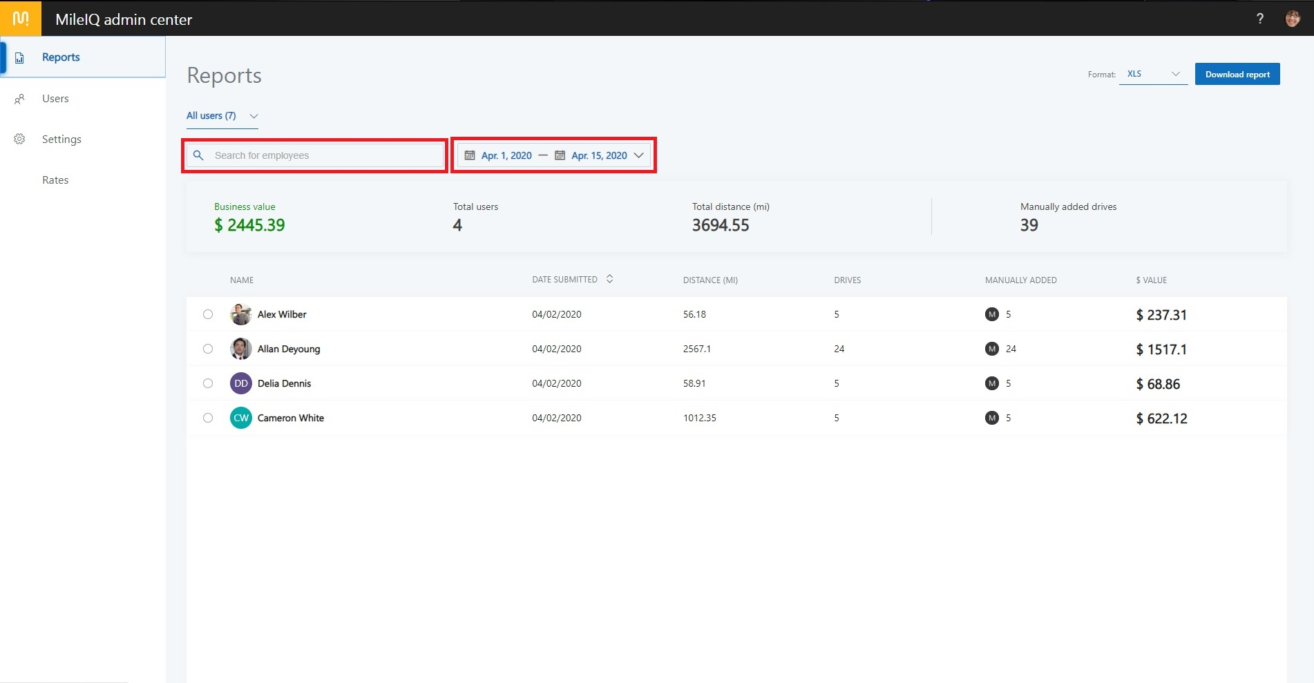 A screenshot of the MileIQ Admin Center displaying report filtering options
