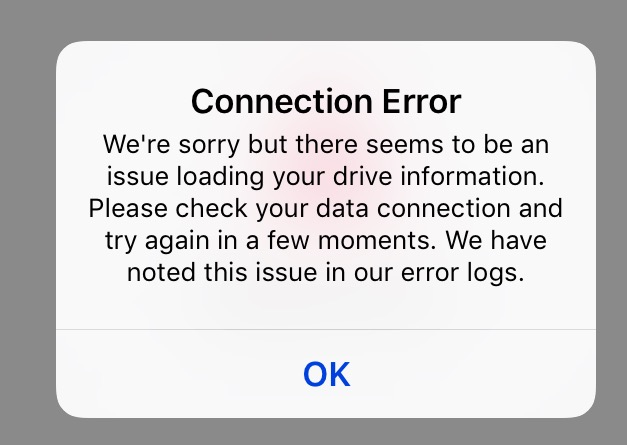 This image shows a connection error message