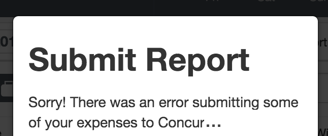 This image shows a Concur error message