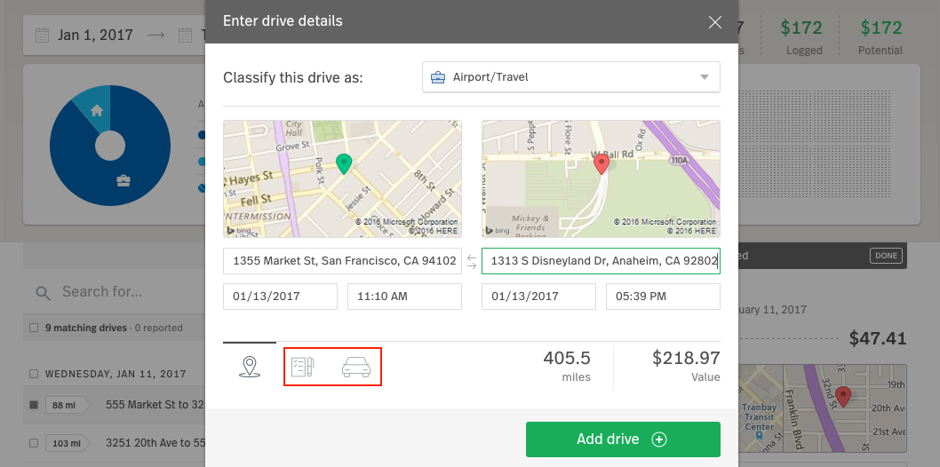 Classify your drives and add details and vehicle information