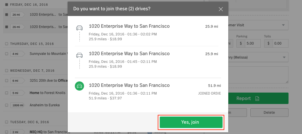 "Image of web dashboard pre-confirmation with details of two drives to be joined, and ""Yes, join"" button highlighted."