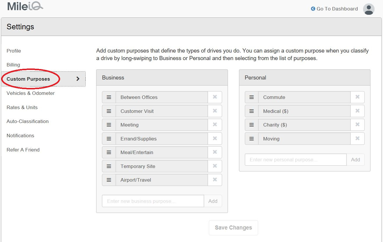 This image highlights the Custom Purposes button on the Settings page.