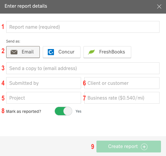 Screenshot showing the pop-up that appears when creating a report. The different fields are labeled 1-9 and are explained below.