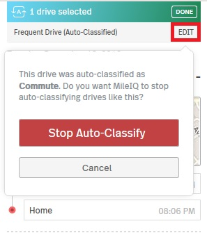 This image shows the stop auto-classify prompt that appears after clicking edit on a drive card.