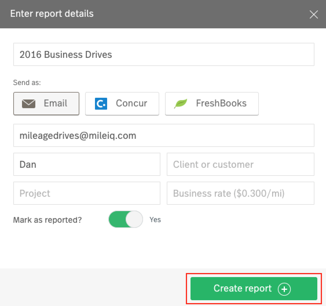 Screenshot showing the 'Enter report details' dialog box that appears when you create a report, and highlighting the 'Create Report' button at the bottom.