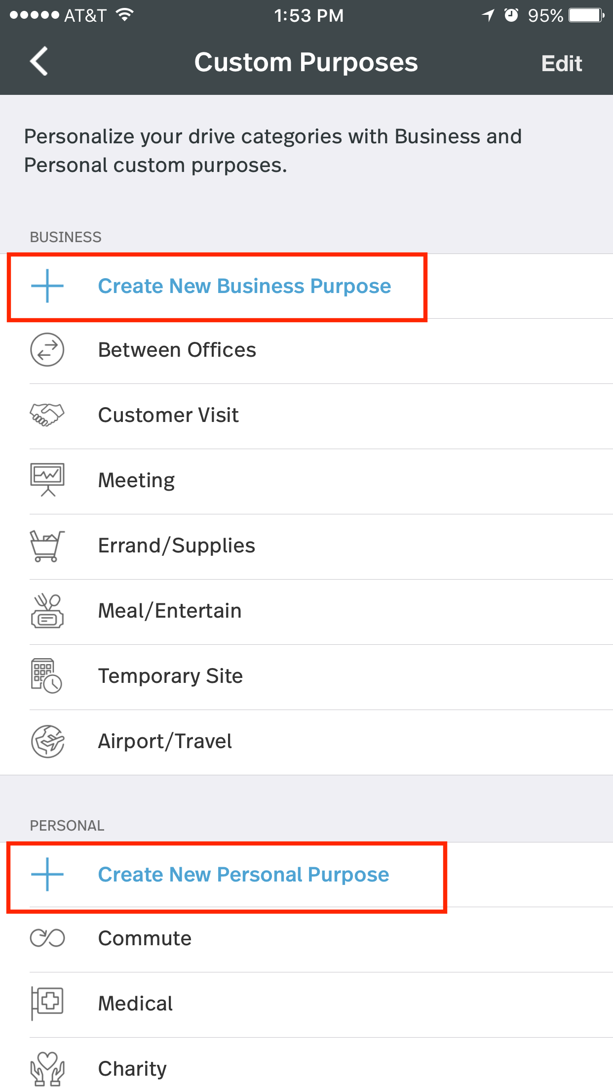 Screenshot shows the Custom Purposes screen circling Create New Business Purpose and Create New Personal Purpose