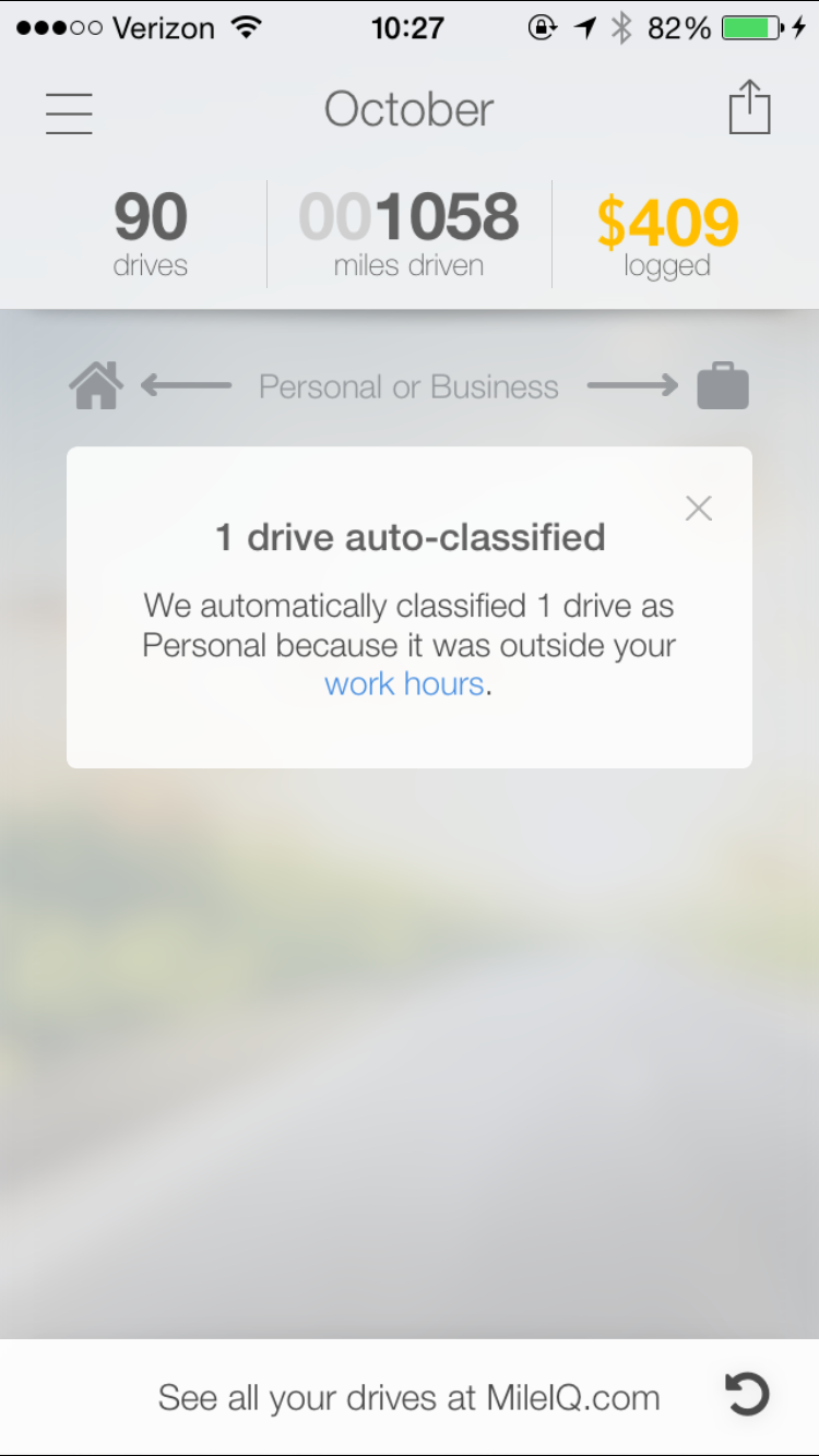 This screenshot is showing a notification in the app for when a drive was automatically classified with work hours