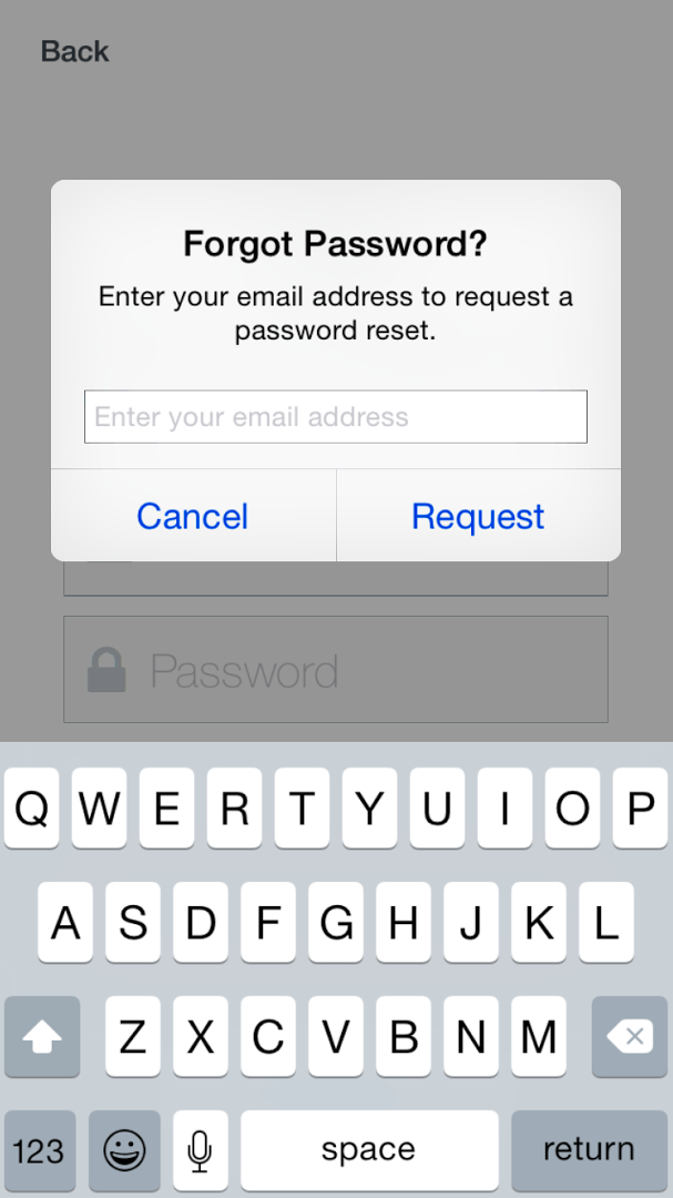 image of area to enter email address and request a password reset email