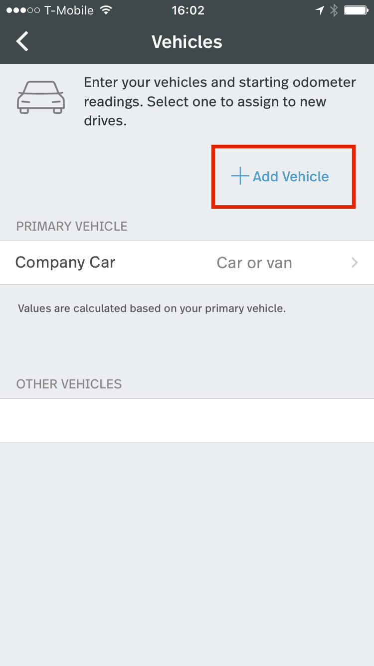 This image shows the vehicles page, highlighting the Add Vehicle button.