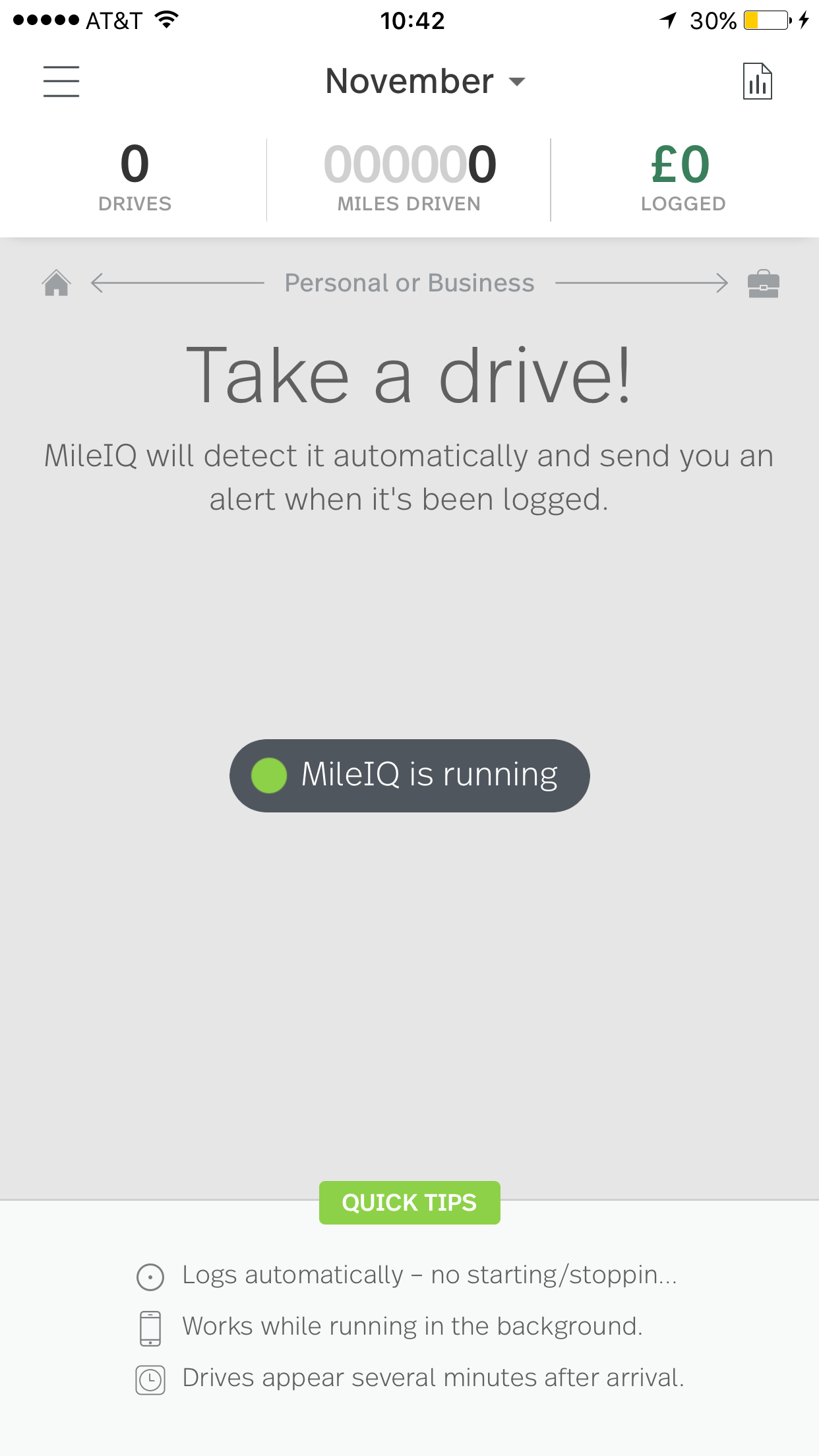 This image shows the Take a drive screen on the mobile app.