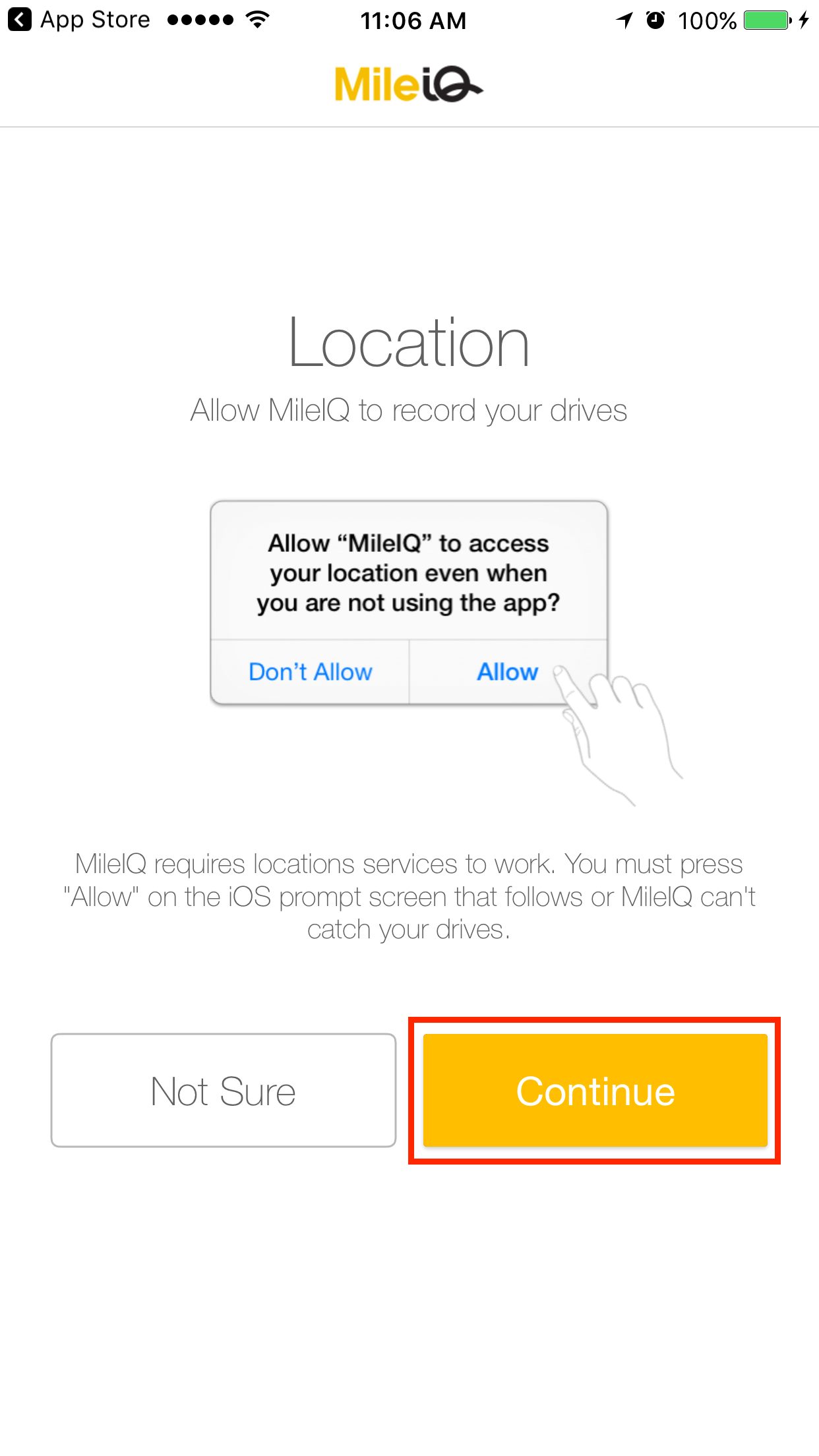 This image shows the locations services confirmation screen in the mobile app.